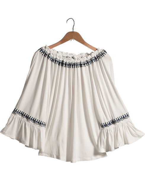 New Direction Women's Off The Shoulder Blue Trim Top , White, hi-res