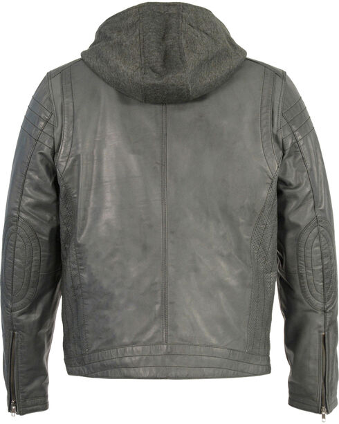 Milwaukee Leather Men's Zipper Front Leather Jacket w/ Removable Hood - Big - 3X, , hi-res