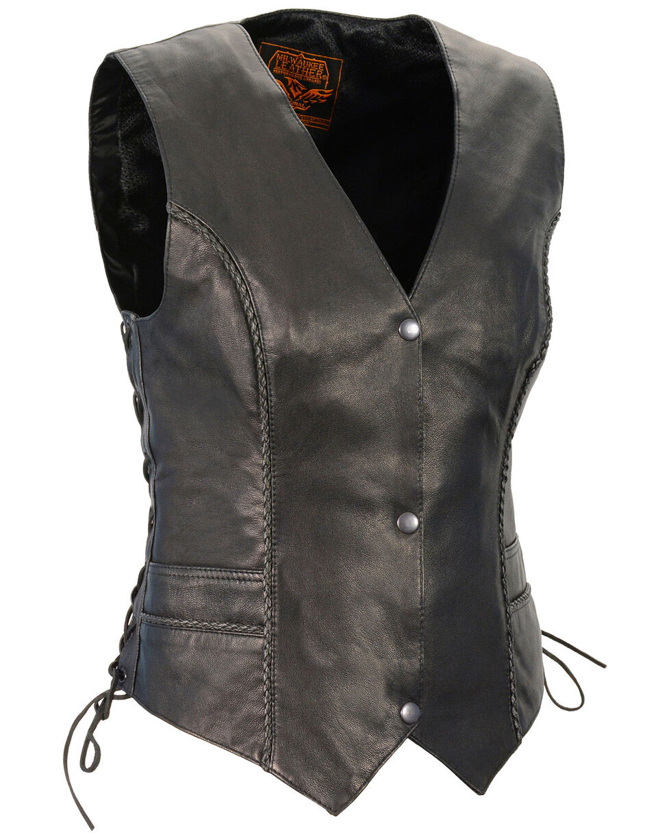 Milwaukee Leather Women's Braided Side Lace Lightweight Snap Front Vest, Black, hi-res