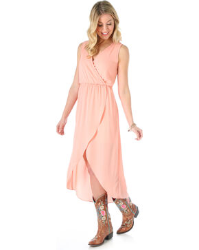 Wrangler Women's Sleeveless High low Wrap Dress, Peach, hi-res