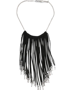 Shyanne® Women's Fringe Necklace, Black, hi-res