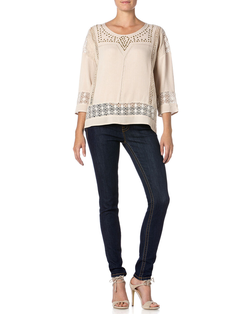 Miss Me Women's Studded Crochet Top, Taupe, hi-res