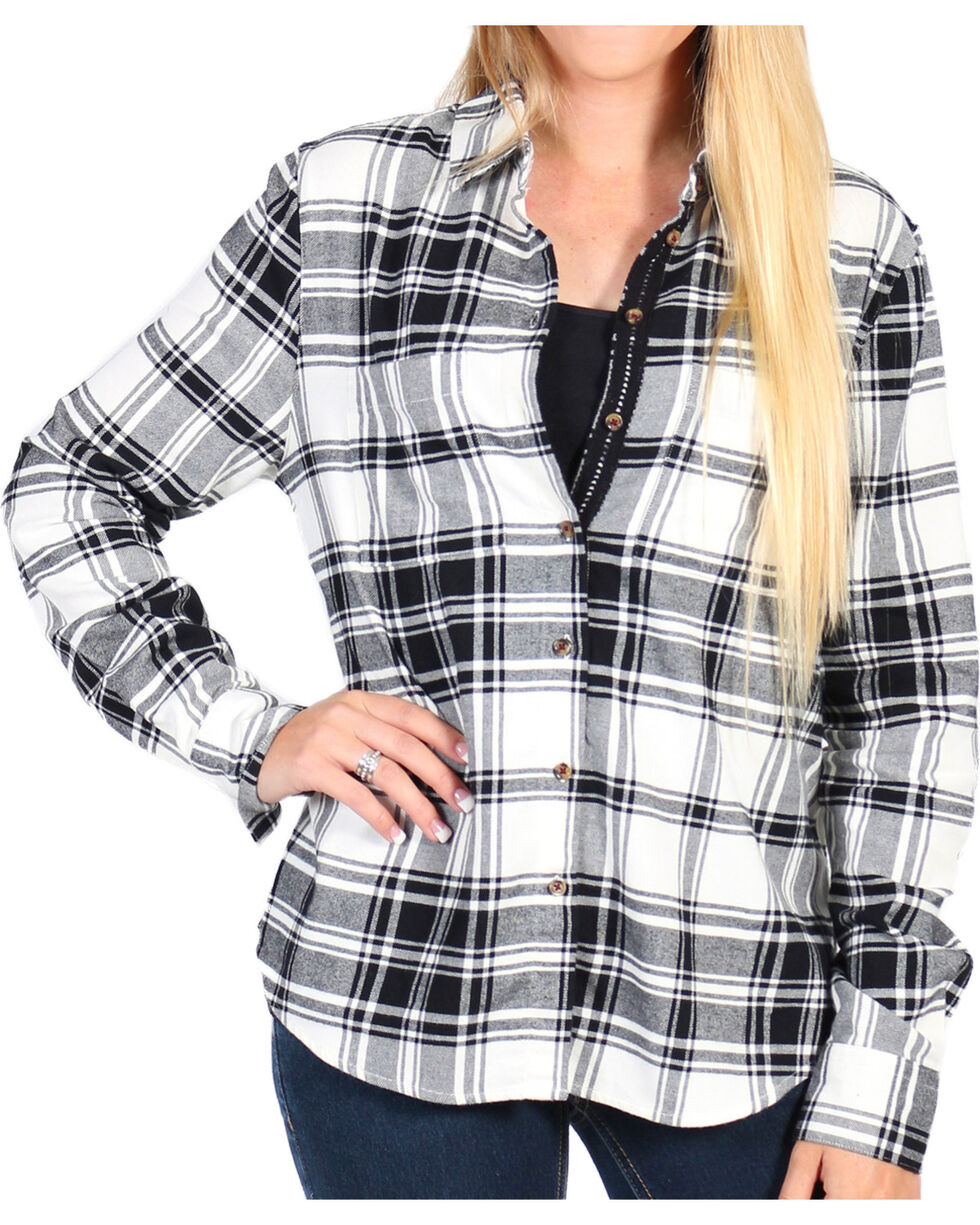 Shyanne Women's Ivory/Black Lace Placket Cotton Flannel Shirt, , hi-res