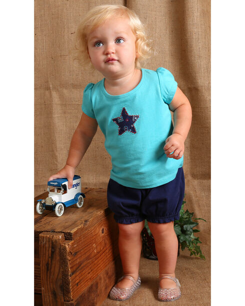 Wrangler Infant Girls' Navy Elastic Waist Shorts, Navy, hi-res