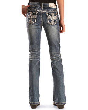 Grace in LA Girls' Cross Embroidered Boot Cut Jeans, Indigo, hi-res