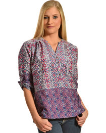 Tantrums Women's Roll Sleeve Printed Shirt, , hi-res