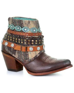 Corral Women's Brown Studded & Woven Harness Ankle Boots - Pointed Toe , Bronze, hi-res