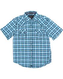 Cody James® Boys' Short Sleeve Plaid Sawtooth Western Shirt, , hi-res