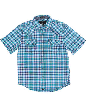 Cody James® Boys' Short Sleeve Plaid Sawtooth Western Shirt, Blue, hi-res