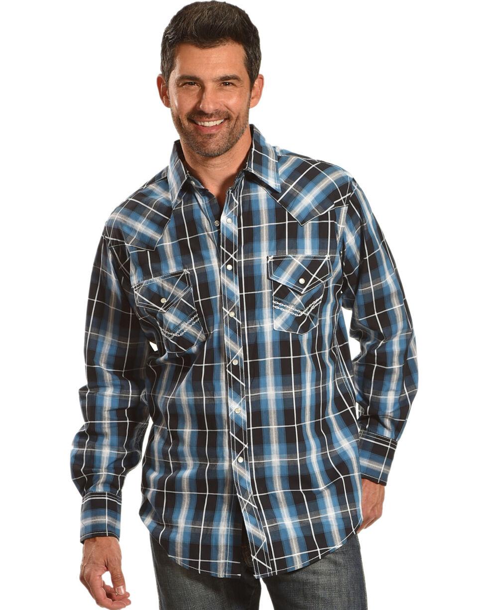 Ely Cattleman Men's Blue Textured Accent Stitch Plaid Shirt , Blue, hi-res