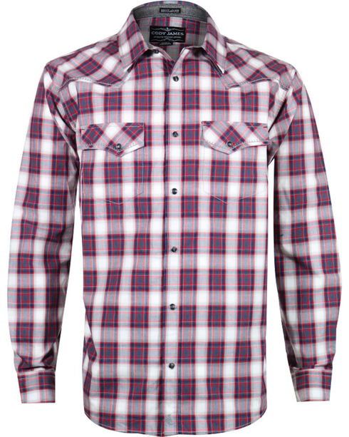 Cody James® Men's Plaid Long Sleeve Shirt, Red, hi-res