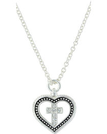 Montana Silversmiths Women's Silver All You Need Is Faith & Love Heart Necklace , , hi-res