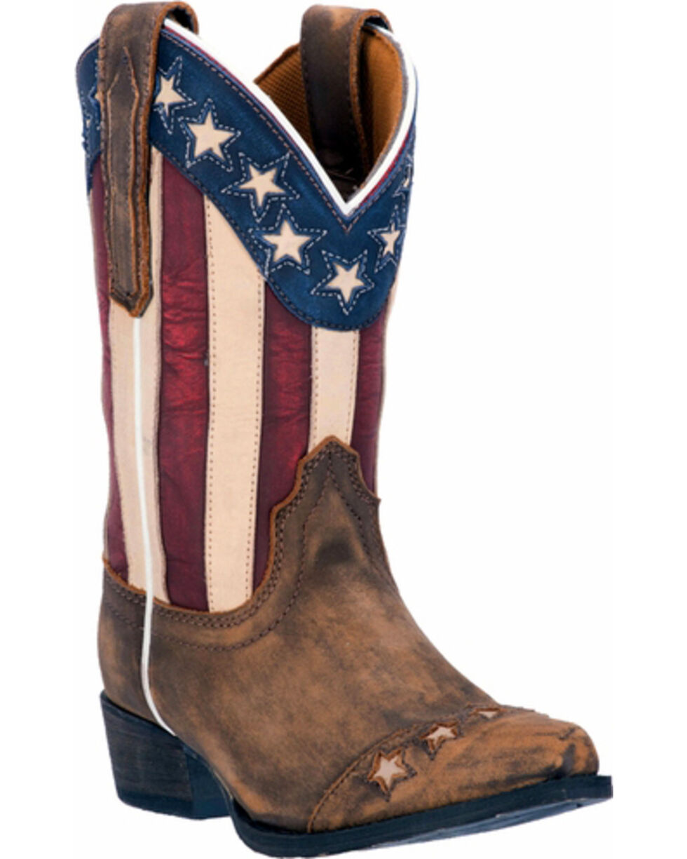 Dan Post Youth Lil' Liberty Western Boots, Tan, hi-res