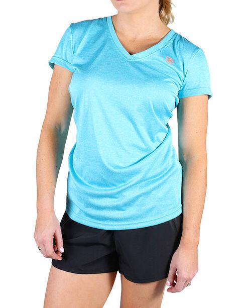 AriatTek Women's Waterfall Laguna Short Sleeve Shirt, Light Blue, hi-res
