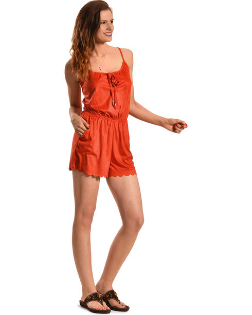 Derek Heart Women's Orange Faux Suede Romper , Orange, hi-res