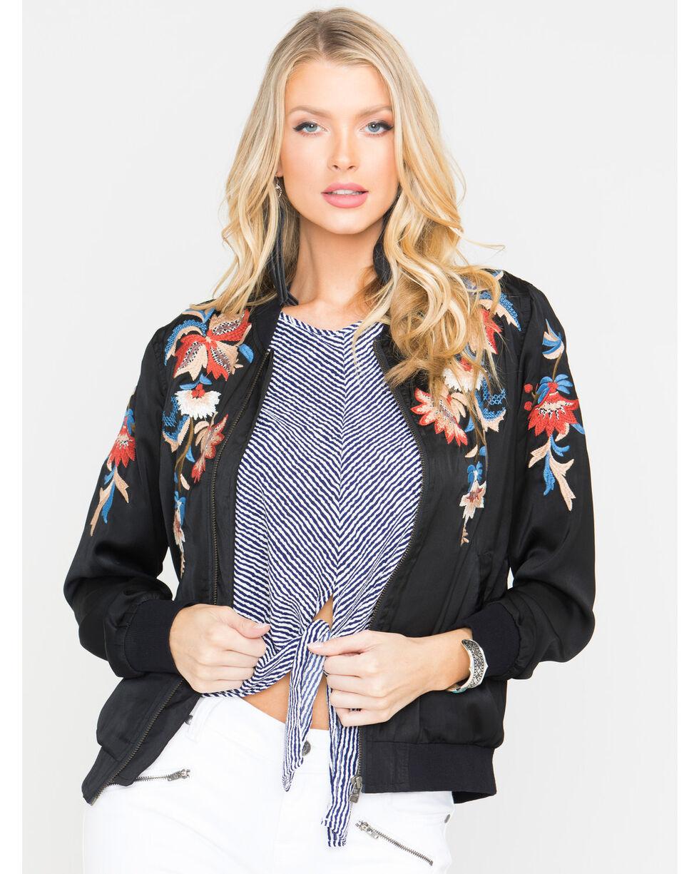 Miss Me Women's Floral Embroidered Jacket, Black, hi-res