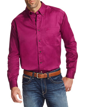 Ariat Men's Magenta Solid Twill Button Down Shirt - Big & Tall, Magenta, hi-res