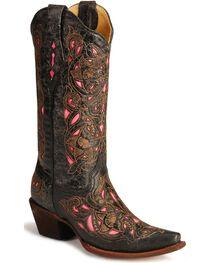 Corral Women's Inlay Snip Toe Western Boots, , hi-res