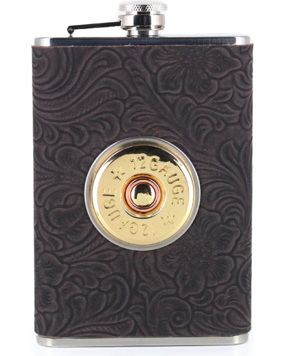 BB Ranch® 12 Gauge Tooled 8 OZ. Flask, No Color, hi-res