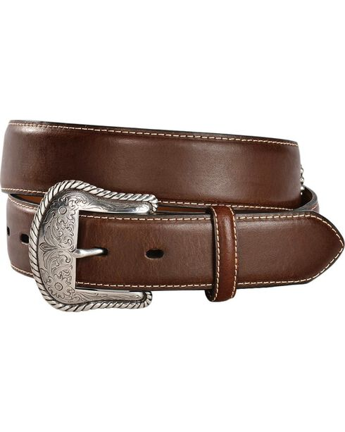 Top Hand Studded Star Concho Western Belt, Brown, hi-res
