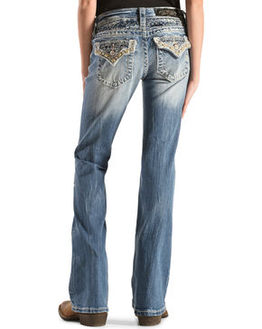 Miss Me Girls' Embellished Back Flap Pocket Jeans - Boot Cut , Denim, hi-res