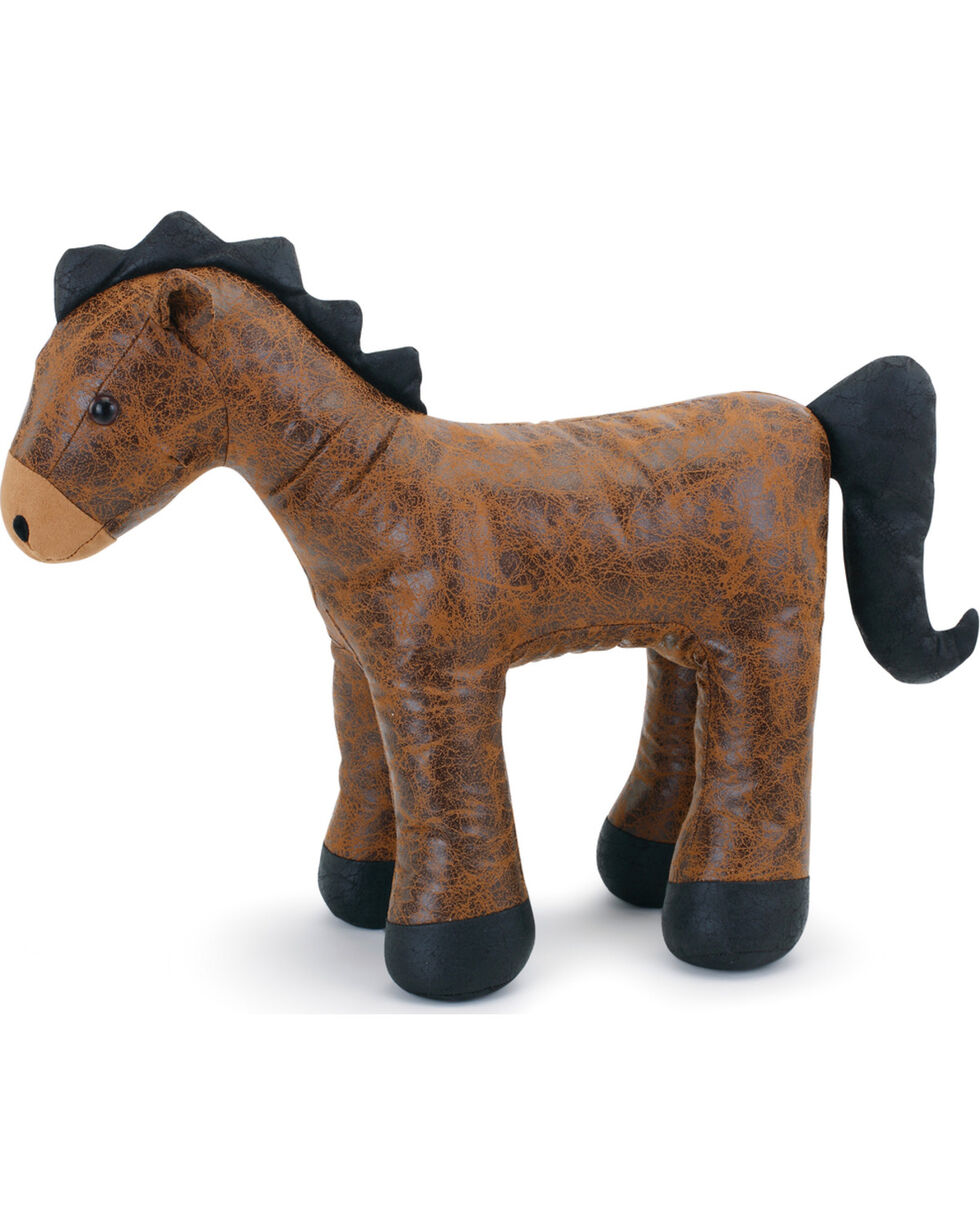 Demdaco Brown Faux Leather Horse Door Stopper, Brown, hi-res