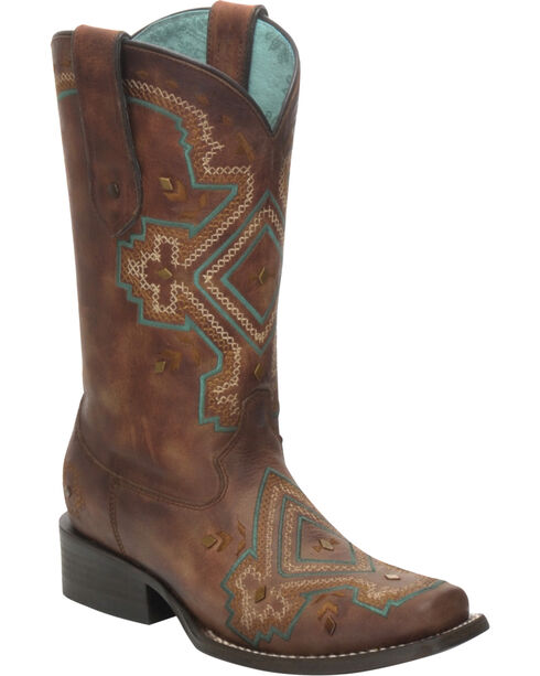 Corral Women's Distressed Studded Diamond Western Boots, Brown, hi-res