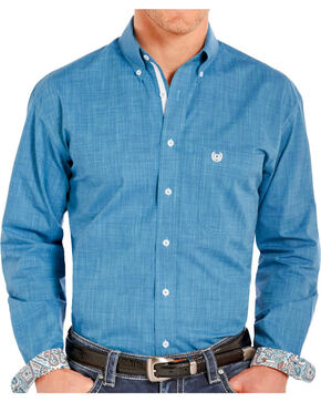 Rough Stock Men's Solid Wash Long Sleeve Shirt, Blue, hi-res