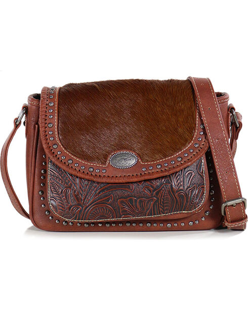 Montana West Women's Trinity Ranch Tooled Hair-On Leather Handbag, Brown, hi-res