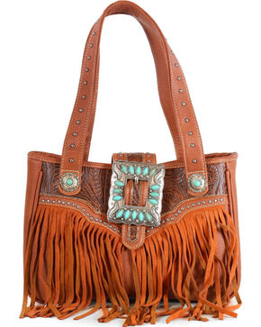 Trinity Ranch Women's Fringe Buckle Shoulder Bag, Brown, hi-res