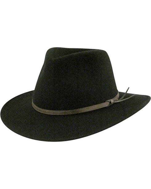 Country Gentleman Men's Outback Fedora, Black, hi-res