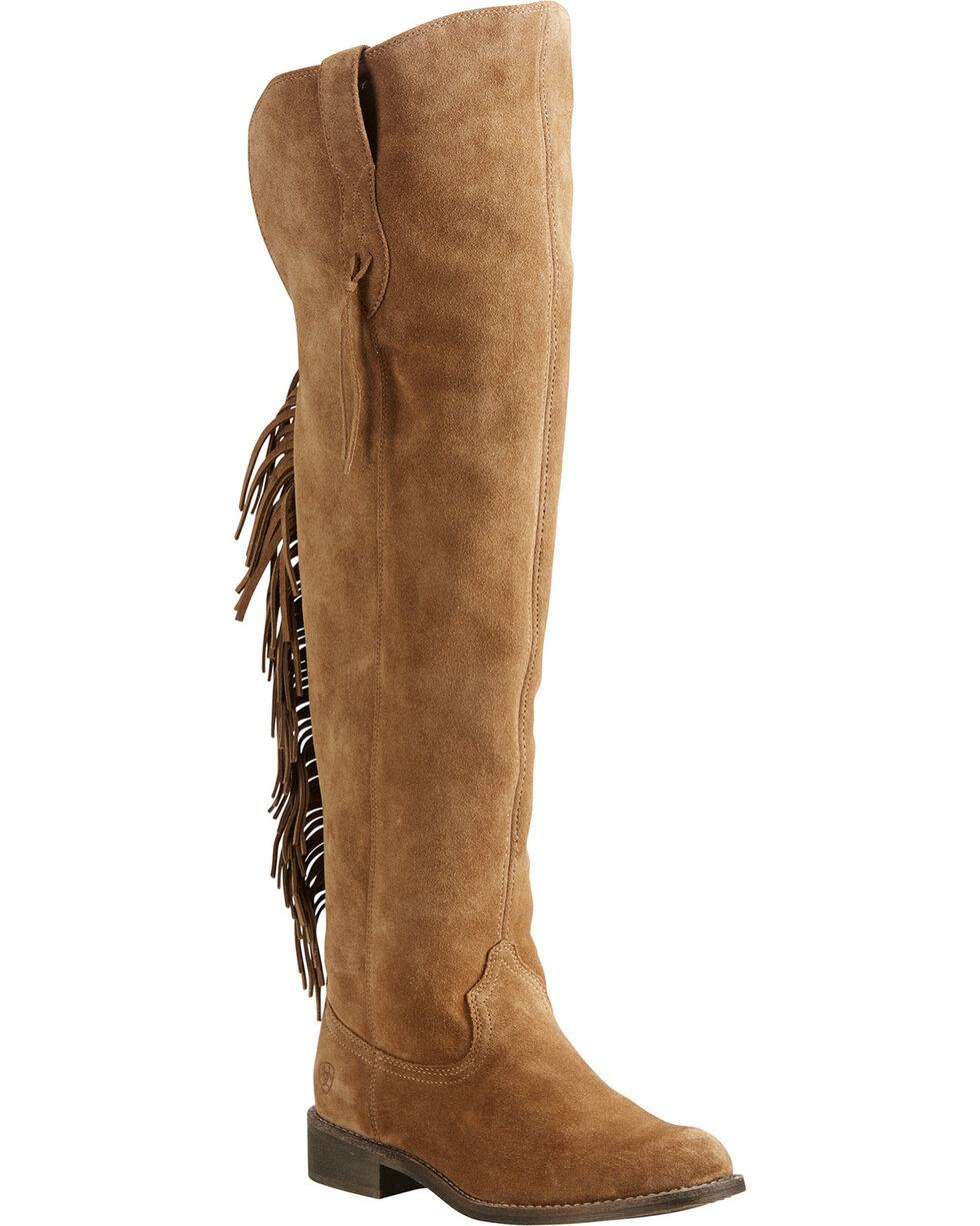 Ariat Women's Tan Farrah Fringe Boots - Round Toe , Tan, hi-res