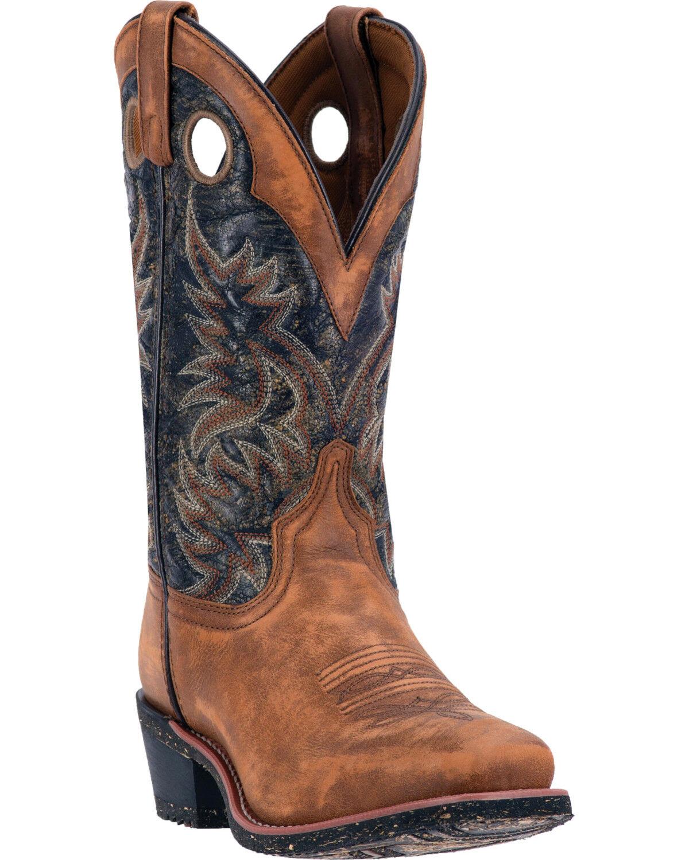 Laredo Menu0027s Rugged Embroidery Western Boots, Tan, Hi Res