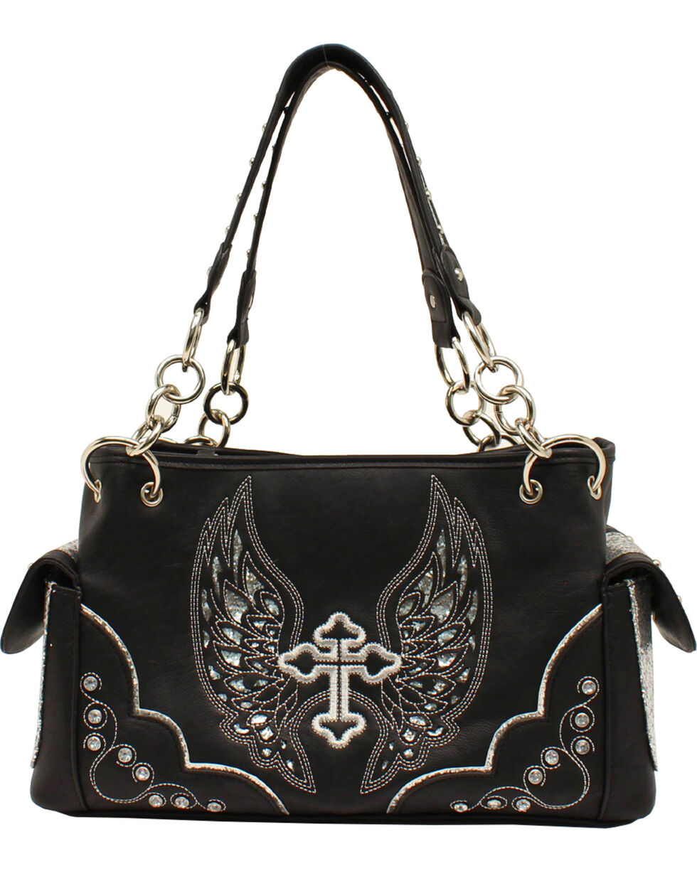 Blazin Roxx Silver Cross and Wings Satchel, Black, hi-res