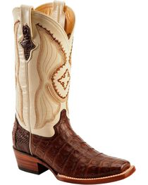 Ferrini Women's Caiman Crocodile Belly Square Toe Western Boots, Chocolate, hi-res