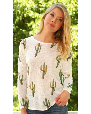 Wrangler Women's Long Sleeve Cactus Print Tunic, Cream, hi-res