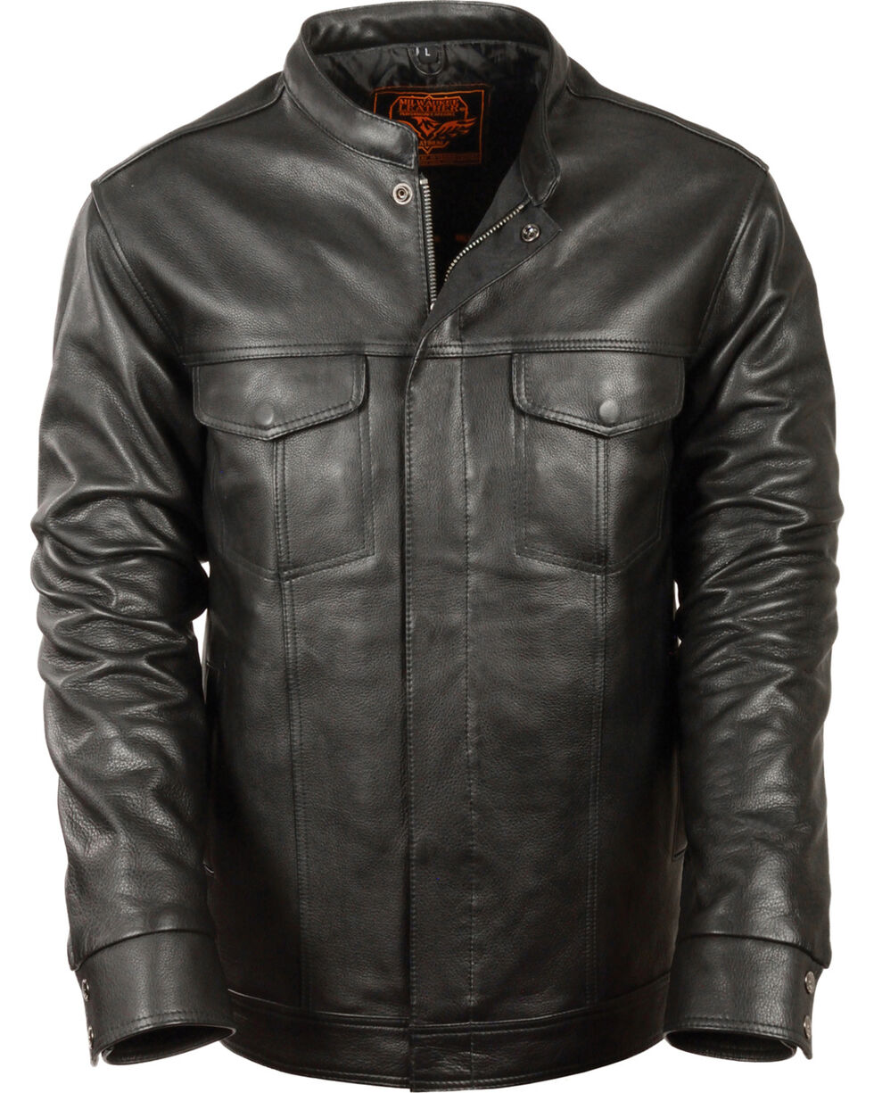 Milwaukee Leather Men's Black Club Style Shirt Jacket - Big 3X , Black, hi-res