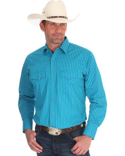 Wrangler Men's Turquoise Silver Edition Western Shirt , Turquoise, hi-res