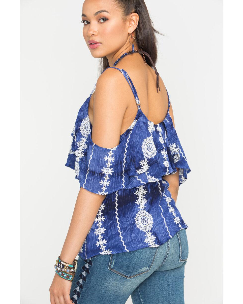 Miss Me Women's Aztec Tie Dye Cold Shoulder Top, Navy, hi-res