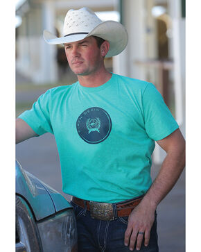 Cinch Men's Teal Heathered Jersey Tee, Green, hi-res