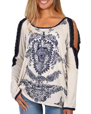 Bila Women's Crochet Cold Shoulder Long Sleeve Shirt, Cream, hi-res
