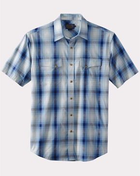 Pendleton Men's Navy Dressy Western Short Sleeve Shirt , Blue, hi-res