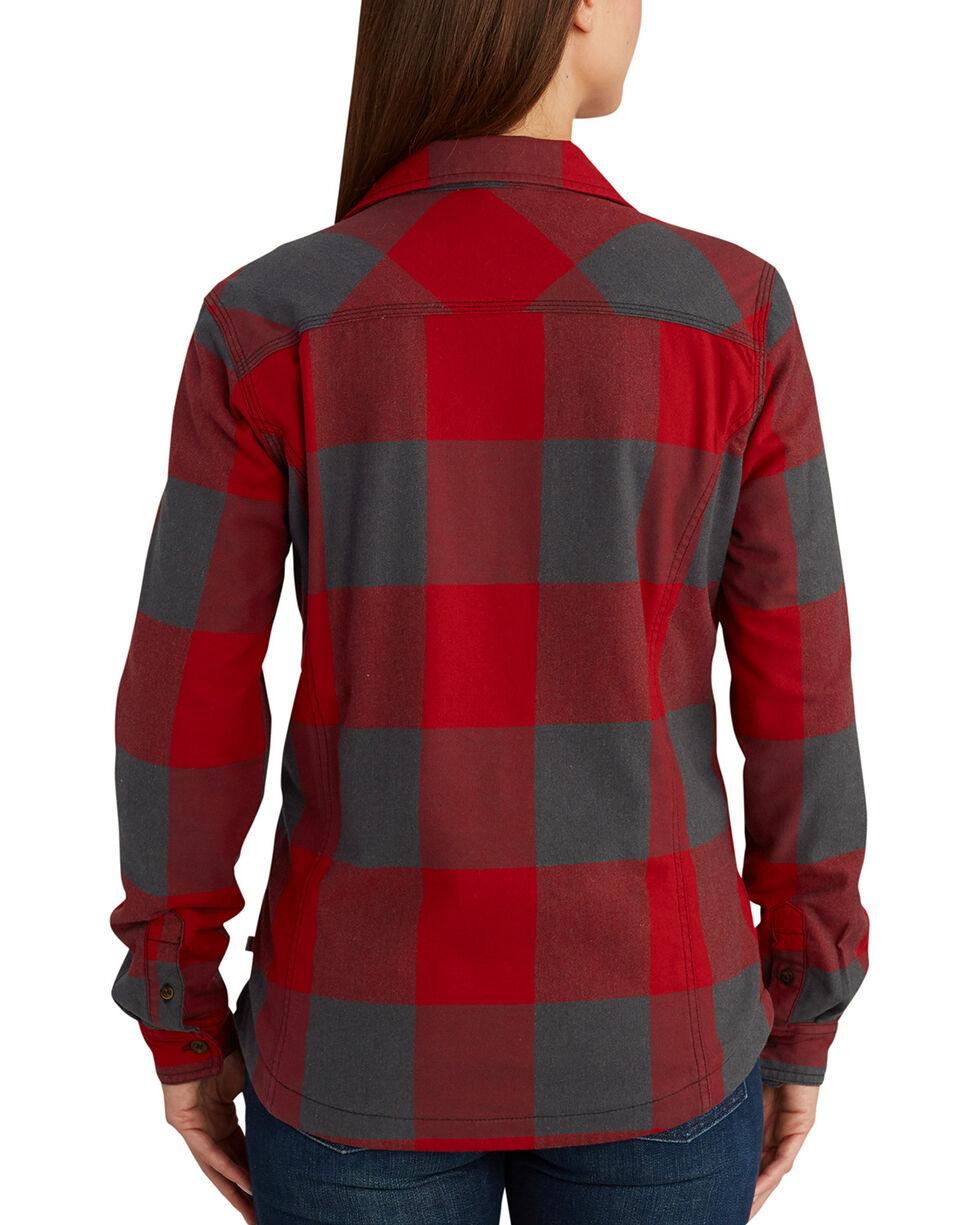 Carhartt Women's Dark Crimson Rugged Flex Hamilton Fleece Lined Shirt, Dark Red, hi-res