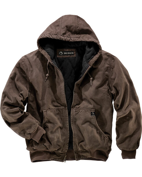 Dri Duck Men's Cheyenne Hooded Work Jacket , Brown, hi-res