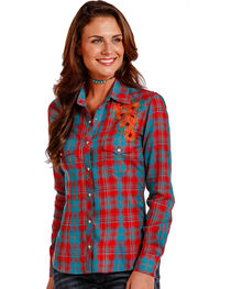 Panhandle Women's Red Floral Embroidery Plaid Shirt , , hi-res