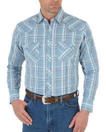 Wrangler Men's Blue Snap Down Plaid Shirt , , hi-res