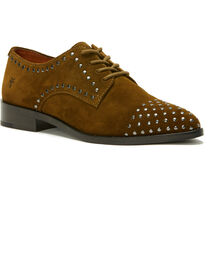 Frye Women's Khaki Erica Stud Oxford Shoes , , hi-res