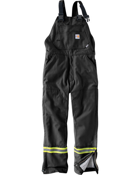 Carhartt Men's Flame Resistant Quilted Lining Overalls - Big & Tall, Black, hi-res