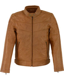 Milwaukee Leather Men's Tan Stand Up Collar Leather Jacket  , , hi-res