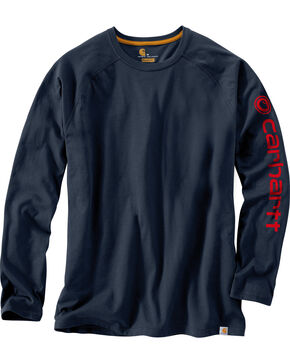 Carhartt Men's Force Cotton Delmont Long Sleeve Graphic T-Shirt - Big & Tall, Navy, hi-res